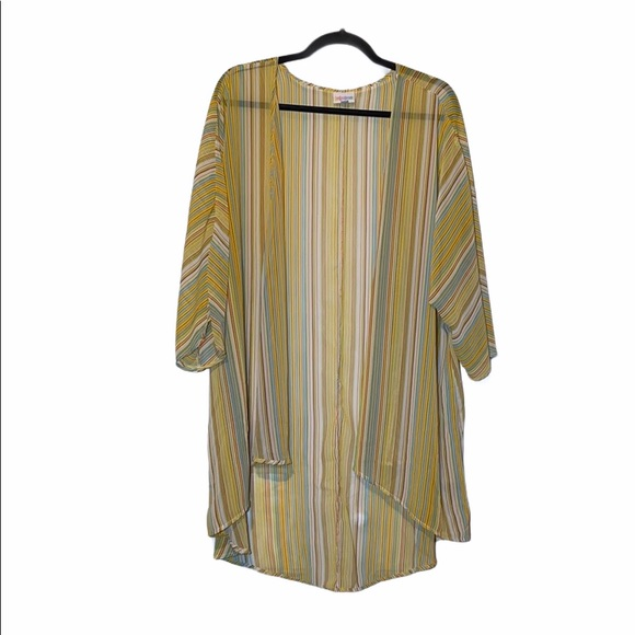 Lularoe multi-color stripe sheer kimono